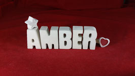 Beton, Steinguss Buchstaben 3D Deko Namen AMBER als Geschenk verpackt!