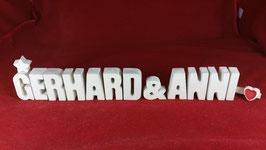 Beton, Steinguss Buchstaben 3D Deko Stern Namen GERHARD & ANNI als Geschenk verpackt!