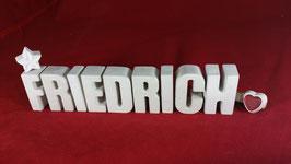 Beton, Steinguss Buchstaben 3D Deko Namen FRIEDRICH als Geschenk verpackt!