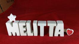 Beton, Steinguss Buchstaben 3D Deko Namen MELITTA als Geschenk verpackt mit Stern und Herzklammer!