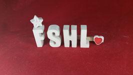 Beton, Steinguss Buchstaben 3D Deko Stern Schriftzug FSHL  als Geschenk verpackt!