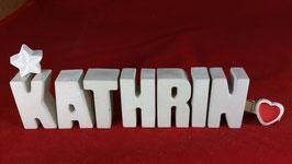 Beton, Steinguss Buchstaben 3D Deko Namen KATHRIN als Geschenk verpackt mit Stern und Herzklammer!
