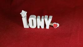 Beton, Steinguss Buchstaben 3D Deko Namen LONY als Geschenk verpackt mit Stern und Herzklammer!