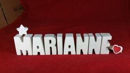 Beton, Steinguss Buchstaben 3D Deko Namen MARIANNE als Geschenk verpackt mit Stern und Herzklammer!