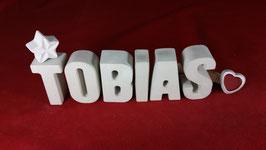 Beton, Steinguss Buchstaben 3D Deko Namen TOBIAS als Geschenk verpackt!