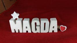 Beton, Steinguss Buchstaben 3D Deko Namen MAGDA als Geschenk verpackt mit Stern und Herzklammer!