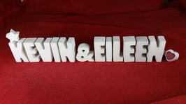 Beton, Steinguss Buchstaben 3D Deko Stern Namen KEVIN & EILEEN als Geschenk verpackt!
