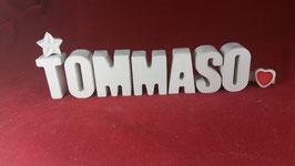 Beton, Steinguss Buchstaben 3D Deko Namen TOMMASO als Geschenk verpackt!