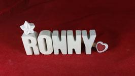 Beton, Steinguss Buchstaben 3D Deko Namen RONNY als Geschenk verpackt!