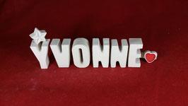 Beton, Steinguss Buchstaben 3D Deko Namen YVONNE als Geschenk verpackt mit Stern und Herzklammer!