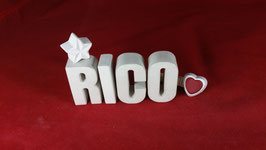 Beton, Steinguss Buchstaben 3D Deko Namen RICO als Geschenk verpackt!