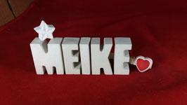 Beton, Steinguss Buchstaben 3D Deko Namen MEIKE als Geschenk verpackt mit Stern und Herzklammer!