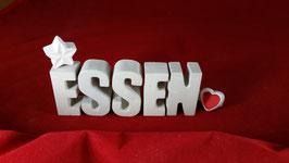 Beton, Steinguss Buchstaben 3D Deko Stern Namen ESSEN als Geschenk verpackt!