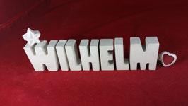 Beton, Steinguss Buchstaben 3D Deko Namen WILHELM als Geschenk verpackt!