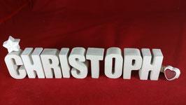 Beton, Steinguss Buchstaben 3D Deko Namen CHRISTOPH als Geschenk verpackt!