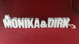 Beton, Steinguss Buchstaben 3D Deko Stern Namen MONIKA & DIRK als Geschenk verpackt!