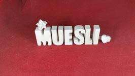Beton, Steinguss Buchstaben 3D Deko Stern Namen MUESLI als Geschenk verpackt!