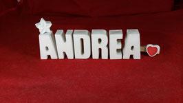 Beton, Steinguss Buchstaben 3D Deko Namen ANDREA als Geschenk verpackt!