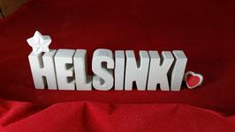 Beton, Steinguss Buchstaben 3D Deko Stern Namen HELSINKI als Geschenk verpackt!