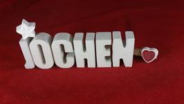 Beton, Steinguss Buchstaben 3D Deko Namen JOCHEN als Geschenk verpackt!