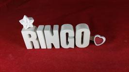 Beton, Steinguss Buchstaben 3D Deko Namen RINGO als Geschenk verpackt!