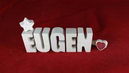 Beton, Steinguss Buchstaben 3D Deko Namen EUGEN als Geschenk verpackt!