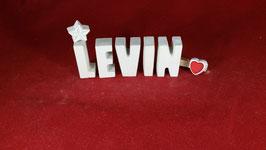 Beton, Steinguss Buchstaben 3D Deko Namen LEVIN als Geschenk verpackt!