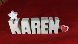 Beton, Steinguss Buchstaben 3D Deko Namen KAREN als Geschenk verpackt mit Stern und Herzklammer!