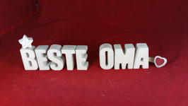 Beton, Steinguss Buchstaben 3D Deko Stern Namen BESTE OMA als Geschenk verpackt!