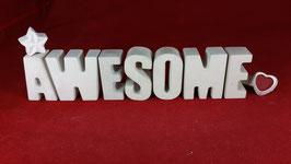 Beton, Steinguss Buchstaben 3D Deko Stern Namen AWESOME als Geschenk verpackt!