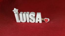 Beton, Steinguss Buchstaben 3D Deko Namen LUISA als Geschenk verpackt mit Stern und Herzklammer!