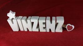 Beton, Steinguss Buchstaben 3D Deko Namen VINZENZ als Geschenk verpackt!