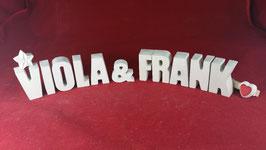 Beton, Steinguss Buchstaben 3D Deko Stern Namen VIOLA & FRANK als Geschenk verpackt!