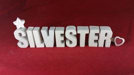 Beton, Steinguss Buchstaben 3D Deko Namen SILVESTER als Geschenk verpackt!