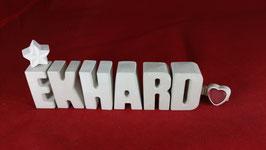 Beton, Steinguss Buchstaben 3D Deko Namen EKHARD als Geschenk verpackt!