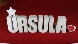Beton, Steinguss Buchstaben 3D Deko Namen URSULA als Geschenk verpackt mit Stern und Herzklammer!