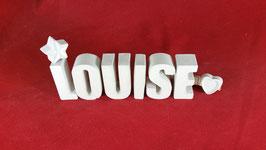 Beton, Steinguss Buchstaben 3D Deko Namen LOUISE als Geschenk verpackt mit Stern und Herzklammer!