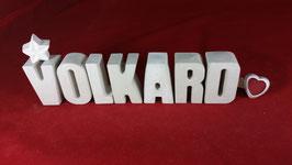 Beton, Steinguss Buchstaben 3D Deko Namen VOLKARD als Geschenk verpackt!