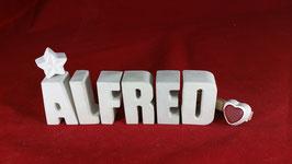 Beton, Steinguss Buchstaben 3D Deko Namen ALFRED als Geschenk verpackt!