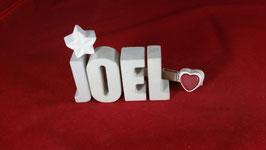 Beton, Steinguss Buchstaben 3D Deko Namen JOEL als Geschenk verpackt!