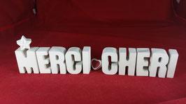 Beton, Steinguss Buchstaben 3D Deko Stern Namen MERCI CHERI als Geschenk verpackt!