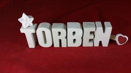 Beton, Steinguss Buchstaben 3D Deko Namen TORBEN als Geschenk verpackt!