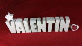Beton, Steinguss Buchstaben 3D Deko Namen VALENTIN als Geschenk verpackt!