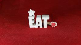 Beton, Steinguss Buchstaben 3D Deko Stern Namen EAT als Geschenk verpackt!