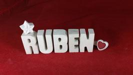 Beton, Steinguss Buchstaben 3D Deko Namen RUBEN als Geschenk verpackt!