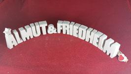 Beton, Steinguss Buchstaben 3D Deko Stern Namen ALMUT & FRIEDHELM als Geschenk verpackt!