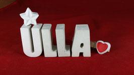 Beton, Steinguss Buchstaben 3D Deko Namen ULLA als Geschenk verpackt mit Stern und Herzklammer!