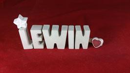 Beton, Steinguss Buchstaben 3D Deko Namen LEWIN als Geschenk verpackt!