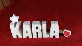 Beton, Steinguss Buchstaben 3D Deko Namen KARLA als Geschenk verpackt mit Stern und Herzklammer!