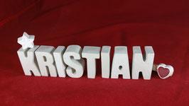 Beton, Steinguss Buchstaben 3D Deko Namen KRISTIAN als Geschenk verpackt!